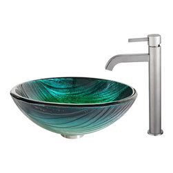 Kraus - Kraus Nei Glass Vessel Sink and Ramus Faucet Satin Nickel - *Inspired by the lush green palette of a rolling hillside, the Nei sink looks striking in a monochromatic setting or a clean, modern space. Pair it with the minimalist form of the Ramus faucet in satin nickel for a soft sheen and a look of refined simplicity