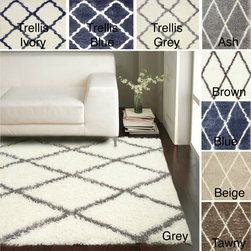 Nuloom - nuLOOM Moroccan Trellis Shag Rug (8' x 10') - Soft and plush,this cozy Moroccan trellis rug adds warmth and comfort to your living spaces. Inspired by Moroccan Berber carpets,this rug features a bold,lined design that is perfect for casual,modern,urban,and transitional spaces.