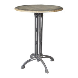 Marco Polo Imports - Ulrich Bar Table-Distressed Antique Oak - Modern bar stool with an iron base with a round wood table top with a distressed antique oak finish.