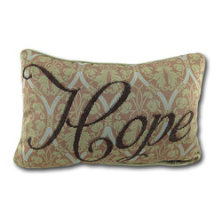 Manual - Words to Live by Hope Accent Pillow 12.5 In. - This pretty accent pillow is part of a 'words to live by' series and features the word 'Hope' in brown script on a teal, yellow, and tan background. The cotton back of the pillow and piping around the edges is yellow, and it measures 12 1/2 inches long by 8 1/2 inches high. It is filled with polyester stuffing and recommended care instructions are to spot clean or dry clean, only. This pillow adds an inspirational accent to beds, chairs, and sofas and it makes a lovely gift for a friend.