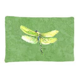 Caroline's Treasures - Dragonfly on Avacado Fabric Standard Pillowcase Moisture Wicking Material - Standard White on back with artwork on the front of the pillowcase, 20.5 in w x 30 in. Nice jersy knit Moisture wicking material that wicks the moisture away from the head like a sports fabric (similar to Nike or Under Armour), breathable performance fabric makes for a nice sleeping experience and shows quality. Wash cold and dry medium. Fabric even gets softer as you wash it. No ironing required.