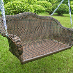 International Caravan - International Caravan Resin Wicker Hanging Loveseat Swing - Swing in comfort and style, even putting your feet up with a good book, on this hanging wicker loveseat swing. This durable wicker is made from resin and has been hand woven over a steel frame. It is weather resistant, and will hold up to 400 pounds.