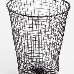 Woven Wire Trash Can - A rustic waste basket is perfect for sitting by your work desk.