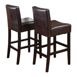 Great Deal Furniture - Lowry Leather Wood Frame Bar Stools, Set of 2 - Perfectly constructed from luxe leather and sturdy hardwood, these stools will add elegance and comfort to your bar or island area. The rich espresso hued bonded leather pads the seats in style, and the masterfully designed frame ensures maximum ease of seating.