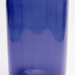 Tag Everyday - Large Cobalt Hurricane Candle Holder in Blue - Hand-blown glass with rippled finish. Rippling effect enhances reflection. 6.25 in. Dia. x 11.25 in. H