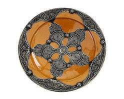 Mustard Moroccan Ceramic Bowl - This handcrafted decorative glazed ceramic bowl is stunning! This piece has fabulous details and features ornate Berber metal engravings. Two holes on the reverse for hanging.
