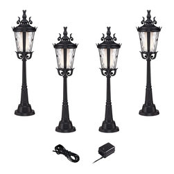 """Super Duty - Traditional Super Duty Casa Marseille Black LED Landscape Lighting Set - Add access lighting to your outdoor spaces with this complete landscape lighting set from the Casa Marseille Super Duty™ line. Four low voltage and energy efficient LED landscape lights with clear hammered glass and a black finish provide illumination for pathways driveways and walkways. A 45-watt low voltage transformer is included which features a built-in photocell for dusk to dawn operation. A black landscape wire completes the kit so you can connect your lights bringing this set together for a spectacular look. Works with existing low voltage landscape lighting systems.  Black 6-piece set.  With 4 landscape lights one 45-watt low voltage transformer cable.  Part of the Super Duty™ brand of lighting.  Cast aluminum construction.  Path lights include integrated 3 watt LED module.  Comparable to a 25 watt incandescent bulb.  Free 45 watt transformer.  Full ON mode or 3 AUTO settings (4 6 and 8 hours).  Built in photo-cell for dusk to dawn operation.  Free 50 feet of cable.  Includes 9 1/2"""" ground stake.  Path lights are 34 1/4"""" high 9"""" wide."""
