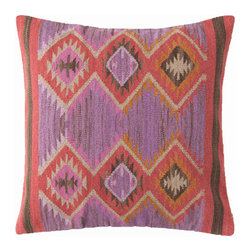 """Dash & Albert - Dash & Albert Rhapsody Wool Woven Pillow - Dash & Albert boasts a collection of polished, practical and durable rugs and accessories that deliver a finished look to any home. Fresh and Southwest-inspired, the bright Rhapsody throw pillow dances with a tribal diamond motif in a pink, purple and red colorway. Constructed using hand-woven wool, this square accessory delivers beautiful design to a living room or bedroom. Made from 73% wool and 27% cotton with a cotton backing. Includes a feather insert. Professional cleaning recommended. 26""""W x 26""""H."""