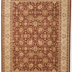 Rug Knots - Traditional Chobi Ziegler Wool Rug with Border Dark Rose and Ivory 8.10x12.2 - A rust red and cool biege form the base colors of this charming rug, which boasts an traditional design. Small, detailed motifs resemble classic Chobi Ziegler imagery in the form of pomegranates, husks, lilies, and European flowers. The rug's multi-tiered border features more intricate designs, and splashes of lavender, lilac, olive, and baby blue are sprinkled throughout the rug's design. This work of art would look lovely against lightly colored floors or in a rustic-chic layout. The rug is made from pure wool, meaning its comfortable and durable, too.