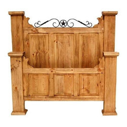 Million Dollar Rustic - Hacienda Style Bed (Full) - Choose Bed: Full. Comes with sideboards and cross slats. Elegant style. Iron accents. Warranty: One year. Made from white pine. Full: 93 in. L x 65 in. W x 70 in. H (110 lbs.). Queen: 93 in. L x 65 in. W x 68 in. H (132 lbs.). King: 93 in. L x 68 in. W x 87 in. H (162 lbs.)