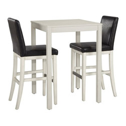 Home Styles - Home Styles Nantucket 3 Piece Bistro Set in White - Home Styles - Patio Bistro Sets - 5022358 - Give your home a cozy inviting atmosphere with the Nantucket 3 Piece Bistro Set. Its sanded worn edges and distressed white finish provides the casual elegance that's great for any home decor styles.  The Nantucket 3 Piece Bistro Set by Home Styles is constructed of hardwood solids in a sanded and distressed white finish providing an aged worn look.