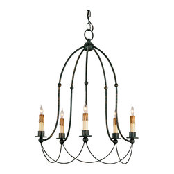 Kathy Kuo Home - Bell Shaped Iron Frame Traditional Chandelier - With a frame that echoes the lines of a trumpet flower in bloom, this traditional black iron 5 light chandelier illustrates how simplicity is the ultimate style statement.  Equally appropriate as a choice for traditional style lighting or French Country lighting, this chandelier will certainly ring your bell!