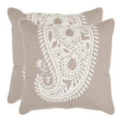 Safavieh Paisley 20 in. Decorative Pillows - Natural / White - Set of 2 - The 100% cotton Safavieh Paisley 20 in. Decorative Pillows - Natural / White - Set of 2 creates a look of luxurious comfort and elegance in your home. Perfect for your sofa, bed, or favorite chair, you'll love the soft beauty of these pillows. Made of 100% cotton, these throw pillows have a hypoallergenic fiberfill insert and a secured zipper closure. About SafaviehConsidered the authority on fine quality, craftsmanship, and style since their inception in 1914, Safavieh is most successful in the home furnishings industry thanks to their talent for combining high tech with high touch. For four generations, the family behind the Safavieh brand has dedicated its talents and resources to providing uncompromising quality. They hold the durability, beauty, and artistry of their handmade rugs, well-crafted furniture, and decorative accents in the highest regard. That's why they focus their efforts on developing the highest quality products to suit the broadest range of budgets. Their mission is perpetuate the interior furnishings craft and lead with innovation while preserving centuries-old traditions in categories from antique reproductions to fashion-forward contemporary trends.