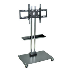 """Luxor - H Wilson Flat Panel Cart - WPSMS62SCH-4 - Holds 37"""" to 60"""" Flat Panel TV's. 65"""" height. Two heavy duty chrome steel tubes with black powder coated base. Engineered for safety. The heavy duty base plate 27"""" x 23 1/2"""" footprint prevents tipping and the 49 Lbs. of counter weight provides the proper center of gravity."""