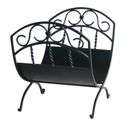 Uniflame - Uniflame W-1035 Black Wrought Iron Log Rack w/ Scrolls - Black Wrought Iron Log Rack w/ Scrolls belongs to Fireplace Accessories Collection by Uniflame