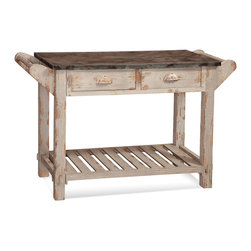 Bassett Mirror - Flora Serving Table - 2 drawers. Whitewashed finish. Measures: 48 in. W x 19 in. D x 30 in. H.