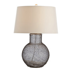 Arteriors - Pierce Lamp - Here's some chain mail you'll actually want to get and will definitely respond to. The bubble-shaped glass lamp base is covered in linked metal chain for extra texture and detail. Topped with a gorgeous lined shade and finial, it's something you should tell your friends about — quick, before bad luck comes your way.