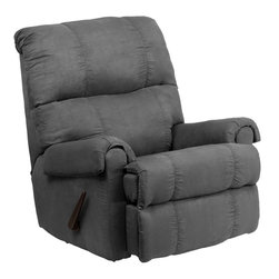 Flash Furniture - Contemporary Flatsuede Graphite Microfiber Rocker Recliner - This is a great little Rocker Recliner, period. It has been built to just the right dimensions for the average sized person, but it gives all the comfort you would expect from an over-stuffed recliner. The Microfiber cover is very lush, comfortable, and easy to clean. It is simply an outstanding value.