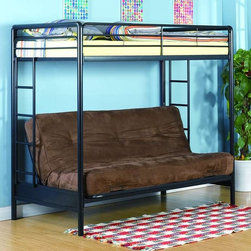 Dorel Home Products - Twin Over Full Futon Loft Bed - NOTE: ivgStores DOES NOT offer assembly on loft beds or bunk beds. Futon and bed mattresses sold separately. Full length guardrails for added safety. Twin size on top and lower full size futon bed. Futon quickly converts to full size sleeper. Upper bed weight capacity: 150 lbs.. Lower bed weight capacity: 600 lbs.. Warranty: One year. Made from metal. 78.6 in. L x 41.7 in. W x 70.1 in. H (130 lbs.). Assembly Instructions. Bunk Bed Warning Please read before purchase.Bringing style and a functional sleeping space into your home is easy with this modern bunk bed.