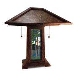 "Schlabaugh & Sons - Schlabaugh & Sons Soilid Oak Craftsman Lamp with Motawi Tile - Oak and Mica Table Lamp with 4""x12"" Motawi Tileworks Landscape Tile."