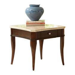 Steve Silver Company - Steve Silver Company Marseille Marble Top End Table in Poplar - Steve Silver Company - End Tables - MS550WE