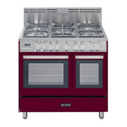 """Verona - VEFSGE365DBU 36"""" Double Oven Dual Fuel Range  5 Sealed Gas Burners  2.4 cu. ft. - The Verona VEFSGE365D 36 in 5-burner double oven duel fuel range offers flexibility and efficiency Chrome knobs and handles porcelain cast-iron grates and caps and EZ clean porcelain oven surface allow effortless glide so you can add check and remove..."""