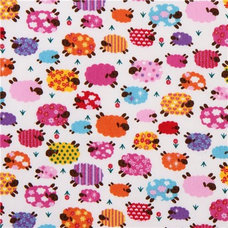 Fabric cute colourful sheeps fabric with glitter Kokka Japan