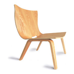 OSIDEA - Osidea V Easy Chair, Oak - This version of the V Chair has a more organic, flowing back rest and seat. The clever hand hole in the back is critical for manufacturing, but doubles as a nifty handle.