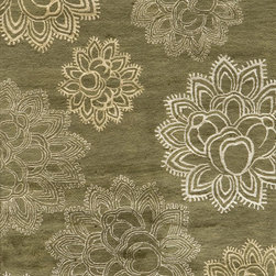 Momeni - Momeni Zen Floral Olive 5' x 8' Rug by RugLots - Inspired by all things tranquil Zen is an elegant collection of hand-tufted rugs, with rich bamboo silk highlights enhancing their quiet appeal and making a graceful addition to any decor. 100% wool.