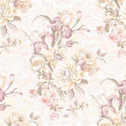 Seabrook Wallcoverings - Hawthorne Floral - Sample, Wallpaper - Antique pink floral wallpaper