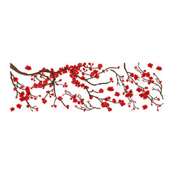 "Home Decor - Red Branch Wall Decals - This beautiful tree branch decal blooms a fresh Spring romance in decor. The kit includes lush red blossoms and a pretty branch. Contains 14 pieces on a 13.75"" x 39.4"" sheet. Imported from Italy."
