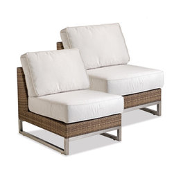Thos. Baker - PAIR palms armless chairs - The palms collection  features rich, coffee-colored Viro® all-weather wicker woven over rust-resistant aluminum frames set on 304-grade stainless legs. Plush cushion sets are covered in premium Sunbrella� outdoor fabrics made-to-order in your choice of 24 solid and textured colors or 16 premium woven patterns.