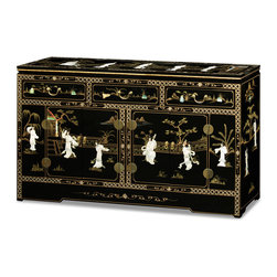 "China Furniture and Arts - 60in Black Lacquer Mother of Pearl Motif Sideboard - Inspired by 18th century European interpretations of traditional Chinese motifs, our magnificent sideboard is beautifully hand-painted with black lacquer and decorated with mother of pearl dancing figures. This unique chest can be used as a sideboard in the dining room, a dresser in the bedroom or a hallway chest. The three drawers have interior space measuring 16""W x 12.75""D x 2.75""H. A two-door cabinet measures 22""Wx13.5""Dx17.75""H and contains a removable shelf for storage convenience."