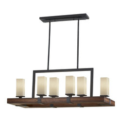 Murray Feiss - Murray Feiss Madera Traditional Rectangular Kitchen Island / Billiard Light X-WG - This Madera traditional kitchen island/billiard light by Murray Feiss is impeccably designed. It uses a combination of finishes and materials, such as a frame in an antique forged iron/aged walnut finish and a cream etched glass shades that sits on a wooden frame. It's a piece that's sure to light up your home in style.