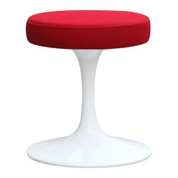 """Lemoderno - Fine Mod Imports  Flower Stool Chair 16"""", Red - The Flower Stool is a white molded ABS frame, and a fabric upholstery seat cushion. Its base is heavy molded cast aluminum, while the shell is in reinforced molded fiberglass Chair features a fixed base Material: White lacquered light gloss finish   Assembled"""