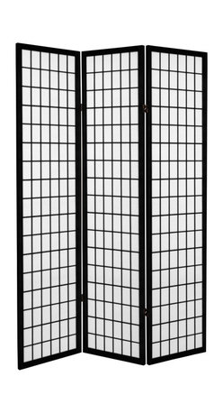Oriental Furniture - 6 ft. Tall Canvas Window Pane Room Divider - Black - 3 Panels - Have the look of a classic shoji window pane room divider on canvas! A remodeled version of our shoji screen, these canvas room dividers look like shoji but are created from a canvas material.