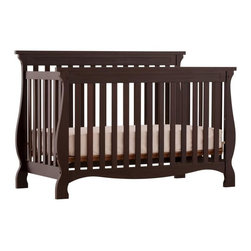 Storkcraft - Carrarra - 4 in 1 Fixed Side Convertible Crib in Espresso Finish - The Carrara 4 in 1 Fixed Side Convertible Crib by Stork Craft adds class to your nursery! This crib is not only stunning, but it's versatile; as your baby grows simply convert the crib to a toddler bed to a daybed and finally to a full size bed (full size bed rails not included). Designed with safety in mind, this crib has a well built construction made of attractive solid wood and wood products. All sides are stationary and include a three position adjustable mattress support base to add to the security and stability of this simple yet elegant crib. Set-up this timeless piece effortlessly with its simple, easy to follow assembly directions.