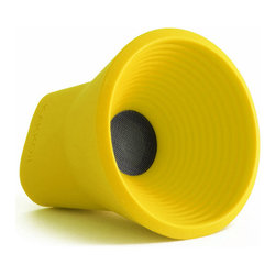 KAKKOii - WOW Wireless Bluetooth Speaker, Yellow - The KAKKOii WOW speaker is a wireless speaker, which uses bluetooth technology. It has been paired down in design for functionality, usability, and portability. It is compact and durable allowing for an on-the-go lifestyle. The speakers range is 33 feet and charges via USB.