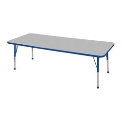 "Ecr4kids - Ecr4Kids Adjustable Activity Table Rectangular 30"" X 72"" Elr-14112-Gbl-Tb Blue - Table tops feature stain-resistant and easy to clean laminate on both sides. Adjustable legs available in 3 different size ranges: Standard (19""-30""), Toddler (15""-23""), Chunky (15""-24""). Specify edge banding and leg color. Specify leg type."