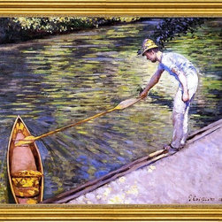 """Gustave Caillebotte-16""""x20"""" Framed Canvas - 16"""" x 20"""" Gustave Caillebotte Boater Pulling on His Perissoire framed premium canvas print reproduced to meet museum quality standards. Our museum quality canvas prints are produced using high-precision print technology for a more accurate reproduction printed on high quality canvas with fade-resistant, archival inks. Our progressive business model allows us to offer works of art to you at the best wholesale pricing, significantly less than art gallery prices, affordable to all. This artwork is hand stretched onto wooden stretcher bars, then mounted into our 3"""" wide gold finish frame with black panel by one of our expert framers. Our framed canvas print comes with hardware, ready to hang on your wall.  We present a comprehensive collection of exceptional canvas art reproductions by Gustave Caillebotte."""