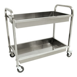 Bayou Classic - Bayou Classic Stainless Steel Serving Cart - Transporting dishes,food,or supplies is easy with this rolling Bayou Classic stainless serving cart. The cart is made with high-polish stainless steel and features two deep trays and convenient handles,so you can move large loads with ease.