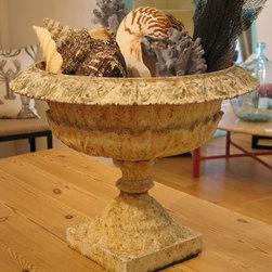 Antique Cast Iron garden Urn - A stunning piece of antique garden decor. This antique garden urn is