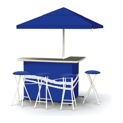 Best of Times - Best of Times Indoor/Outdoor Portable Bar with 4 Barstools - 2003W1305 - Shop for Tables and Chairs Sets from Hayneedle.com! Get ready party people you're about to meet your new best friend when it comes to entertaining - the Best of Times Indoor/Outdoor Portable Bar with 4 Barstools! This portable L-shaped bar and four-piece bar stool set touts a light-weight steel frame with a fabric outer which is available in a variety of colors and patterns to suit your style to a tee. The custom-made fabric on both the bar and padded removable bar stool covers is water- and UV-resistant as is the fabric of the matching 6-foot umbrella. The bar features three levels of built-in shelving to provide plenty of space for glasses bottles and mixers while a removable built-in food-grade cooler creates the perfect place to load up on ice. The real beauty of this bar and bar stool set is that each is easily transportable and sets up anywhere in mere minutes - no tools required! Both the bar and the bar stools include storage bags for extra-easy transport to the next party.About The Best of TimesThe Best of Times wants to help you take your next outdoor party tailgating event or indoor get-together to the next level! Offering a unique combination of style quality and portability The Best of Times' sturdy weather- and UV-resistant bars umbrellas and bar stools are the affordable solution you've been looking for to more expensive home bar or rental options. As easy to use as they are to put together (no tools required!) these party-perfect pieces are sure to be a hit wherever you take them.