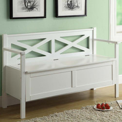 Monarch - White Solid Wood 50in.L Bench with Storage - Accentuate your entrance way with this 50 in. long storage bench. Conveniently stow away blankets, scarves and mitts or simply sit on it while you put on your shoes! This white solid wood bench and criss-cross motif back offer sturdy support. This bench that can also be used as an accent piece in your home, it will no doubt give a warm feel to any decor.