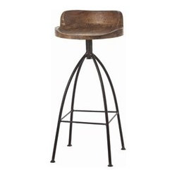 Hinkley Bar Stool by Arteriors Home - Rustic marries industrial with this tall natural iron bar stool with swivel wood seat in natural wax finish for counters/bars.