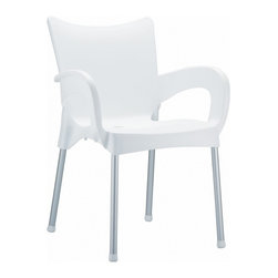 Siesta - Romeo Resin Dining Arm Chair White (Set of 4) - -Made from commercial grade resin with anodized aluminum legs, with non-skid rubber caps.