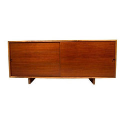 Pre-owned Nakashima Style Solid Walnut Media Cabinet - A stunning studio piece made of finely selected solid walnut. The construction on this baby is unbelievable  -- this is how furniture should always be made! It features removable doors, 4 adjustable shelves of varying widths, and backing equipped for media ventilation.