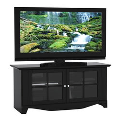 Nexera - Pinnacle TV Console w 2 Glass Doors in Black - 2 Glass doors. Very classy, convenient and practical. Accepts up to 60 in. flat screen TV sizes. 2 Closed storage compartments each with 1 adjustable shelf. Wire management grommets. Doors are made of 1 solid piece of MDF with glass inlay. Front bottom molding and handles. Made of engineered wood, glass and MDF. Assembly required. 56 in. W x 22 in. D x 25 in. H (89 lbs.)