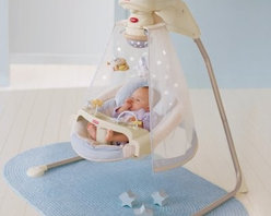 Fisher-Price Starlight Cradle Baby Swing - It may not be time for your little one to go camping under the stars but the Fisher-Price Starlight Cradle Swing can introduce him to the wonders of the universe. While comfortably cradled in the cozy papasan seat with head support cushion your baby can swing either side-to-side or front-to-back depending on his changing preferences. Your wide awake infant will enjoy watching the spinning mobile playing with the bead bar on the removable tray and listening to the daytime sounds of birds chirping a brook babbling and eight happy songs playing. When it's naptime Mom can switch on the magical starry night light show that projects onto the sheer canopy. Now the nighttime sounds of crickets bullfrogs and eight more calming songs will fill baby's outdoor dreams. Additional Features for Baby: Watching starlight show and motion of moving stars on the mobile fosters visual tracking skills Canopy surrounds baby and sways along with the swing Comfy cradle seat with head support provides baby with a sense of security Daytime and nighttime songs and sound effects with volume control strengthen baby's auditory skills and provide needed variety so Mom doesn't go crazy Alternating swinging motions calm your baby even as his mood changes Additional Features for Mom and Dad: Sturdy steel frame folds for storage and portability Removable papasan seat pad is machine-washable 6 speeds and 2-position reclining seat for comfort as baby develops Customize baby's experience by choosing starlight on or off music only swinging only mobile only or any combination Quick-release power cord saves on batteries; requires 4 D batteries (not included) Weight capacity: 25 lbs. Developmental Guidelines: Use cradle swing from birth until a child becomes active and can climb out of the seat. Recommended ages: Birth-12 months. About Fisher-PriceAs the most trusted name in quality toys Fisher-Price has been helping to make childhood special for generations of kids