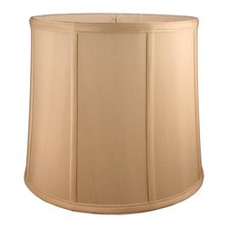 American Heritage Shades - Round Drum Lampshade in Honey Beige (17 in. Diam x 17 in. H) - Choose Size: 17 in. Diam x 17 in. HLampshade Types. Shantung faux silk with off-white fabric liner. Hand made. Matching top, bottom and vertical trim. Enhances lamp and room decor. Made from polyester and fabric. Fitter in brass color. Made in USA. No assembly required